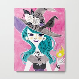 Witchy Girl Metal Print