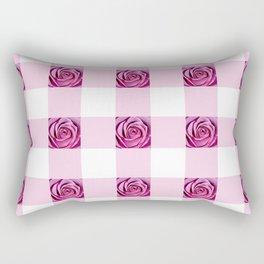 Pink Rose Check Pattern Rectangular Pillow