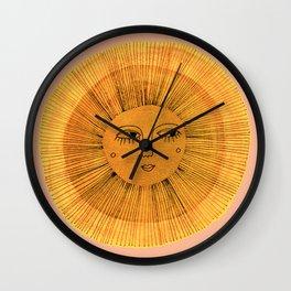 Sun Drawing Gold and Pink Wall Clock