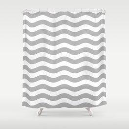 Wavy Stripes Patten Gray Shower Curtain