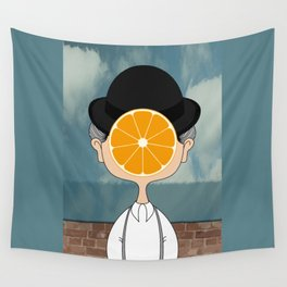 Orange Magritte Wall Tapestry