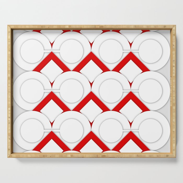 White Circles And Red Squares Abstract Geometric Pattern Serving Tray