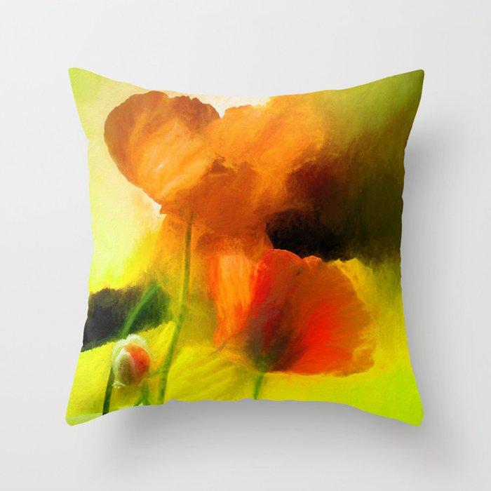 Poppies on green Throw Pillow