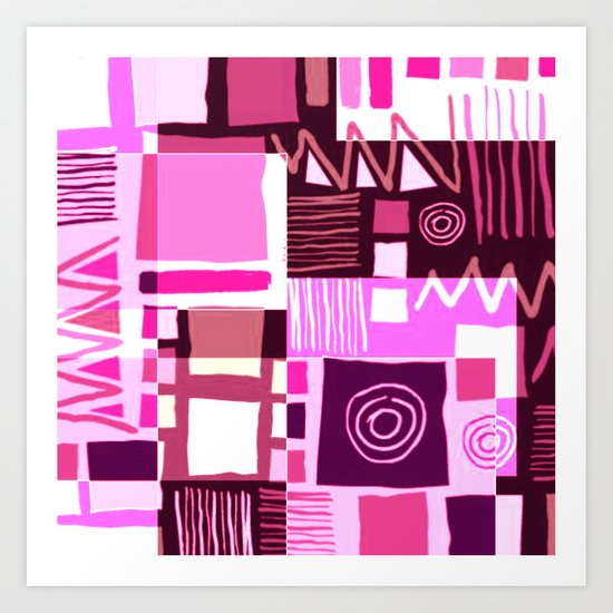 Ethnic in pink Art Print