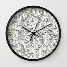 Enokitake Mushrooms (pattern) Wall Clock