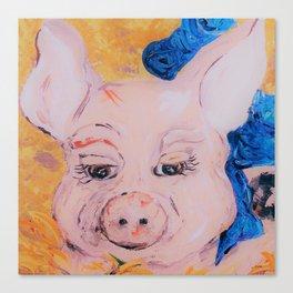 Blue Ribbon Pig Canvas Print