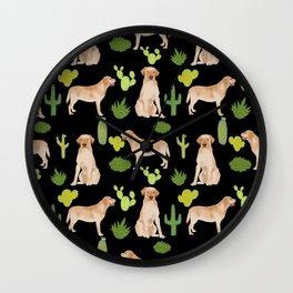 Labrador Retriever yellow lab cute cactus southwest pet portrait dog breed desert Wall Clock