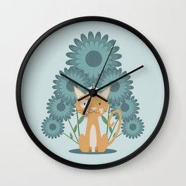 Cat in the Flowerfield Wall Clock