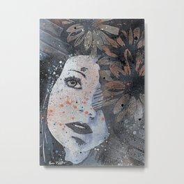 Lack Of Interest: Rust (graffiti dark lady with daisies) Metal Print