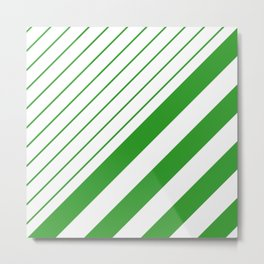 Green And White Stripes Pattern Metal Print