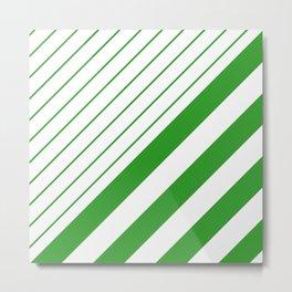 Green And White Stripes Pattern Metal Print