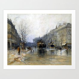 Frank Myers Boggs Paris Street Scene Art Print