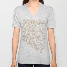Elegant white faux gold glitter modern floral Unisex V-Neck
