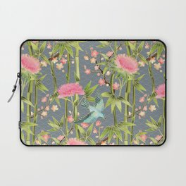 Bamboo, Birds and Blossom - grey Laptop Sleeve