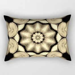 Beige Black Heart Mandala Kaleidoscope Pattern Rectangular Pillow