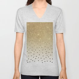 Black white polka dots gold glitter ombre Unisex V-Neck