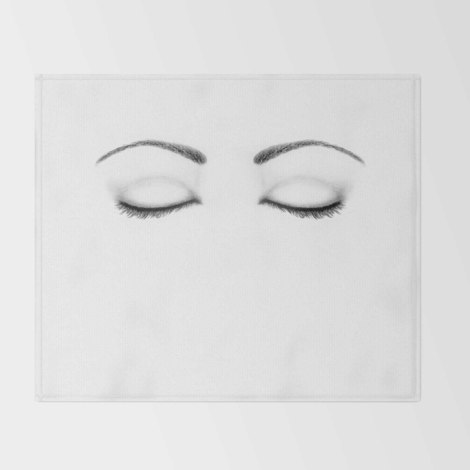 Closed eyes original sketch drawing eyes art apparel and accessories throw blanket