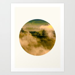 Mid Century Modern Round Circle Photo Graphic Design Foggy Green Country Landscape Art Print
