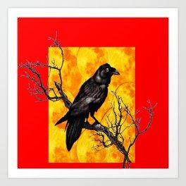 Oriental Style Red Crow Tree Art Art Print