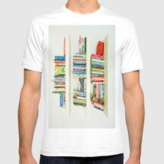 Bookshelf Mens Fitted Tee White MEDIUM