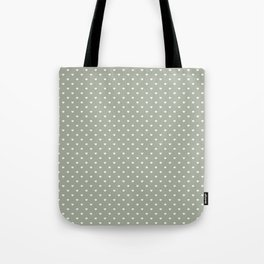 White Polka Dot Hearts on Desert Sage Grey Green Tote Bag
