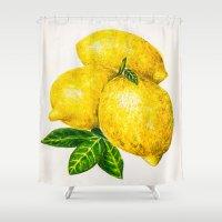 lemon Shower Curtains featuring Lemon by Peiting Tsai