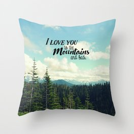 To the Mountains and Back Throw Pillow