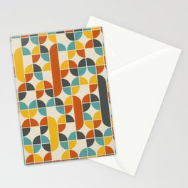 1970s Colors Mid Century Modern Geometric Pattern  Stationery Cards