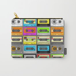 Retro 80s Cassette Tape Pattern Carry-All Pouch