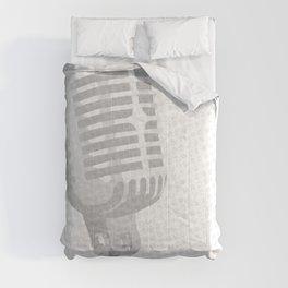 Grey Microphone Background Comforters