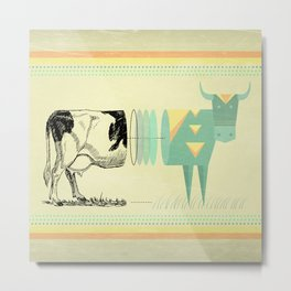 the black and white cow who wanted to be colorfully geometric  Metal Print