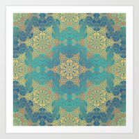 henna Art Prints featuring Blue Henna by Truly Juel