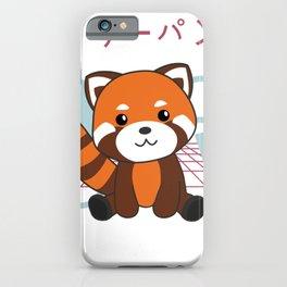 Red Panda Japan Retro 90s Kawaii Anime Animals iPhone Case