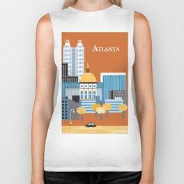 Atlanta, Georgia - Skyline Illustration by Loose Petals Biker Tank
