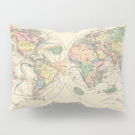Vintage Map of The World (1872) Pillow Sham