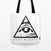 all seeing eye Tote Bags featuring ALL SEEING EYE  by ANOMIC DESIGNS
