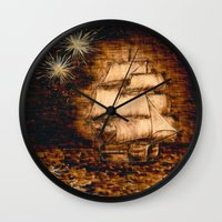 peter pan Wall Clocks featuring Peter Pan by Red, the artist