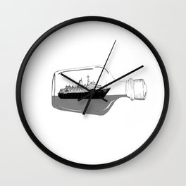 ship in a bottle . Artwork (  https://society6.com/vickonskey/collection ) Wall Clock