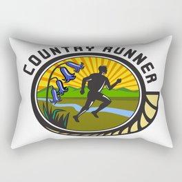 Cross Country Runner Text Oval Retro Rectangular Pillow