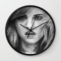 emma watson Wall Clocks featuring Emma Watson by xDontStopMeNow