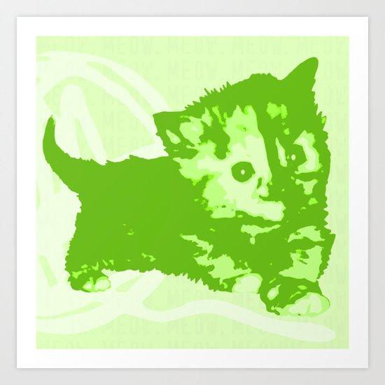 Here Kitty, Kitty - Green Pastel Art Print