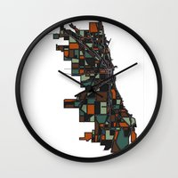 chicago map Wall Clocks featuring Chicago by BigRedSharks