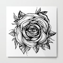 Black Rose flower With the eye Metal Print