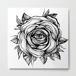 Black Rose flower With the eye Metal Print
