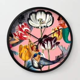 Mermaid Floral with moon Wall Clock