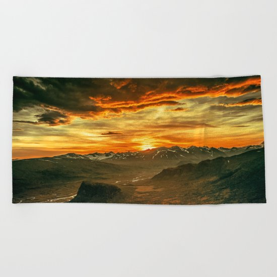 Mountains Ablaze Beach Towel