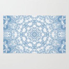 Blue and White Mandala Rug