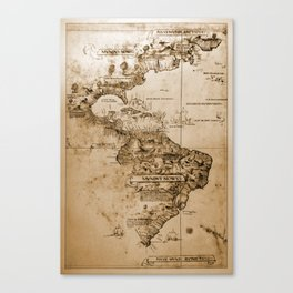 Old map of America. Canvas Print