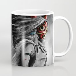 Miyazaki's Mononoke Hime Digital Painting the Wolf Princess Warrior Color Variation Coffee Mug