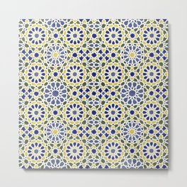 Middle Eastern Tile Pattern in Blue and Yellow #2 Metal Print